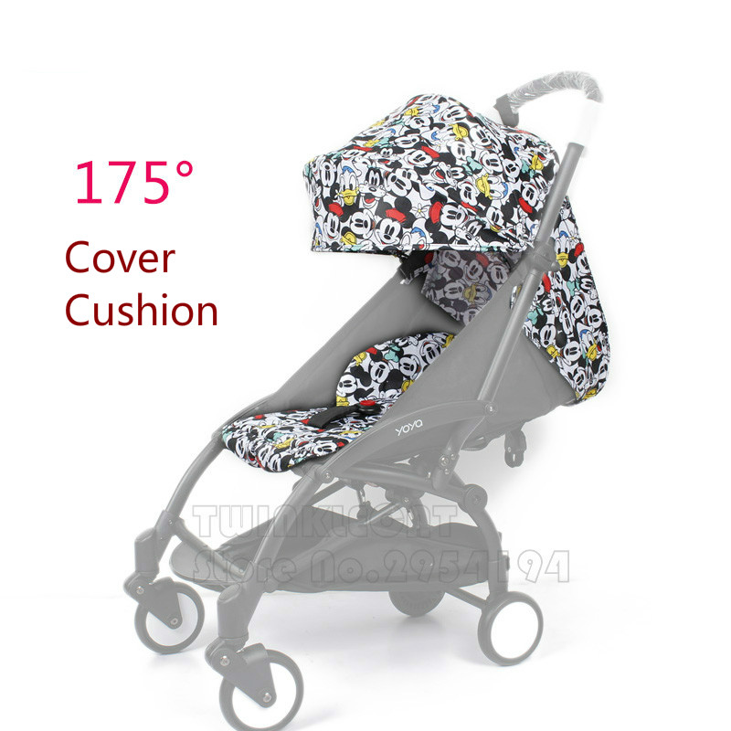 Fashion 27 Colors Babyyoya 175 Degree Sun Cover And Seat Cushion Set Yoya Yoyo Baby Stroller Accessories Sun Cover Canopy Seat baby stroller accessories for yoya yoyo babyzen sun shade cover seat infant pram cushion pad sunshade canopy buggies for babies
