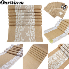 OurWarm 5pcs Vintage Lace Burlap Table Runner Hessian Jute Country Party Imitated Linen Tablecloth Wedding Banquet Home Decor