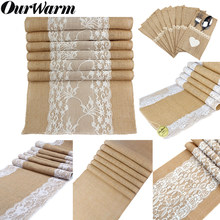 OurWarm 5 pcs Vintage Burlap Runner ตาราง Hessian Jute Country Party (China)