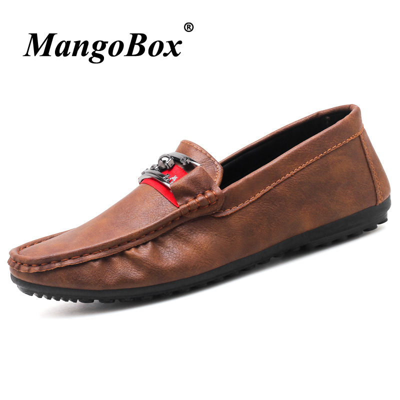 Classic Men Slip On Footwear Non Slip Loafers For Male Comfortable Boat Shoes Gray Brown Men Driving Shoes Cheap Platform Shoes