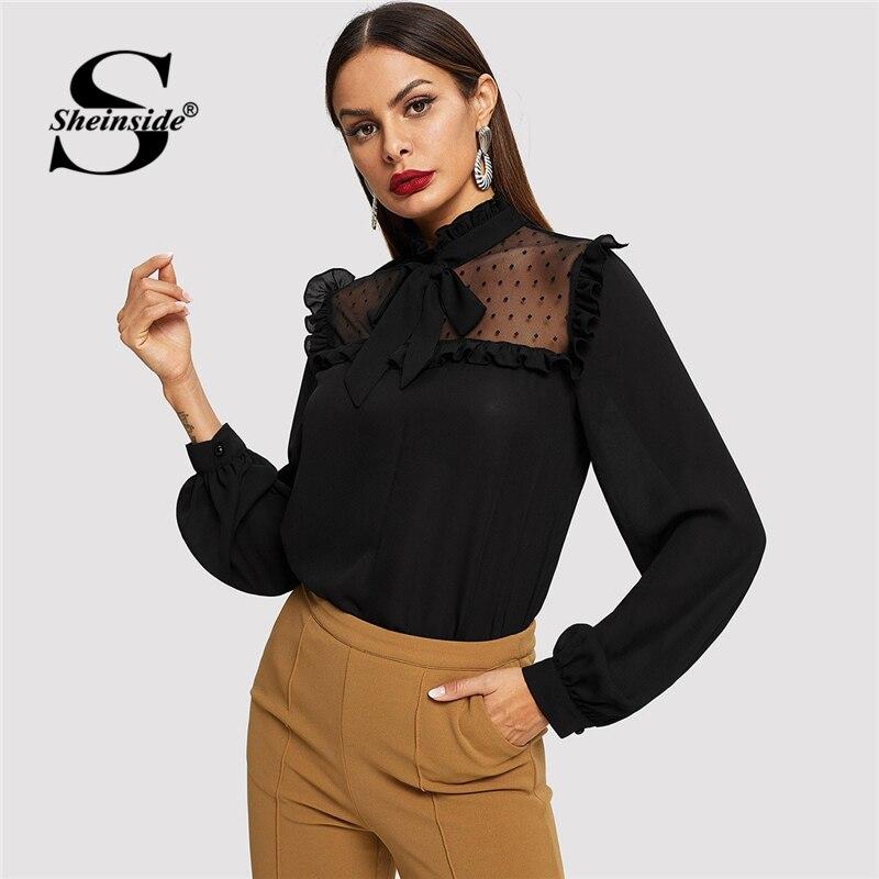 Sheinside Black Elegant Blouse Women Long Sleeve Shirts Tie Neck Dot Mesh Yoke Top 2018 Ladies Shirt Womens Tops And Blouses