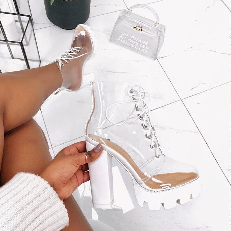 Sandales Peep New Femme liée 12 Bottes ivoire Hauts De Beige Pour Summer Femmes Croix Toe Carrés Transparent 2019 Cheville Cm Talons Cristal orange Chaussures EqX4w4d