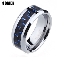 8mm Blue And Black Men S Wedding Band Carbon Fiber Inlay Polish Beveled Edges Tungsten Carbide