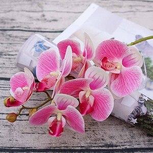 Искусственные цветы, 6 голов, 3D фаленопсис, Орхидея, Рождественское украшение для нового года, домашних ВАЗ, свадьбы