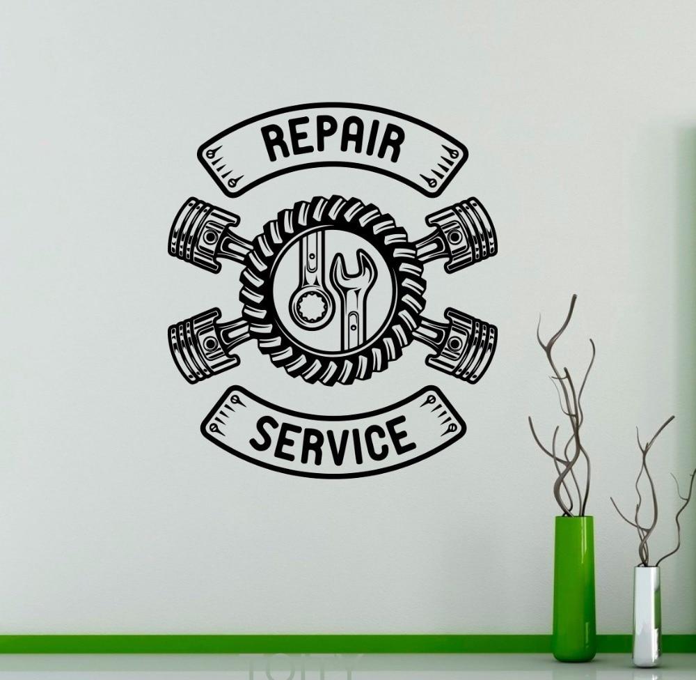 Repair Service Wall Vinyl Decal Auto Machine Sticker Logo