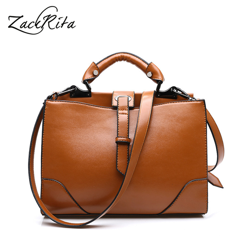 ZackRita Bags for Women 2017 Genuine Leather Messenger Bags Luxury Handbag Crossbody Bag Business Casual Female Trunk Tote B85