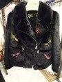 Реального норки меховой моды куртка женщин реального норки пальто женщины природный норки с вышивкой змея