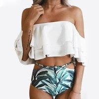 Bikini New Flouncing Swimsuit Plus Size XXL Bathing Suit Sexy Women High Waist Swiming Suits Off Shoulder Swimwear Jersey
