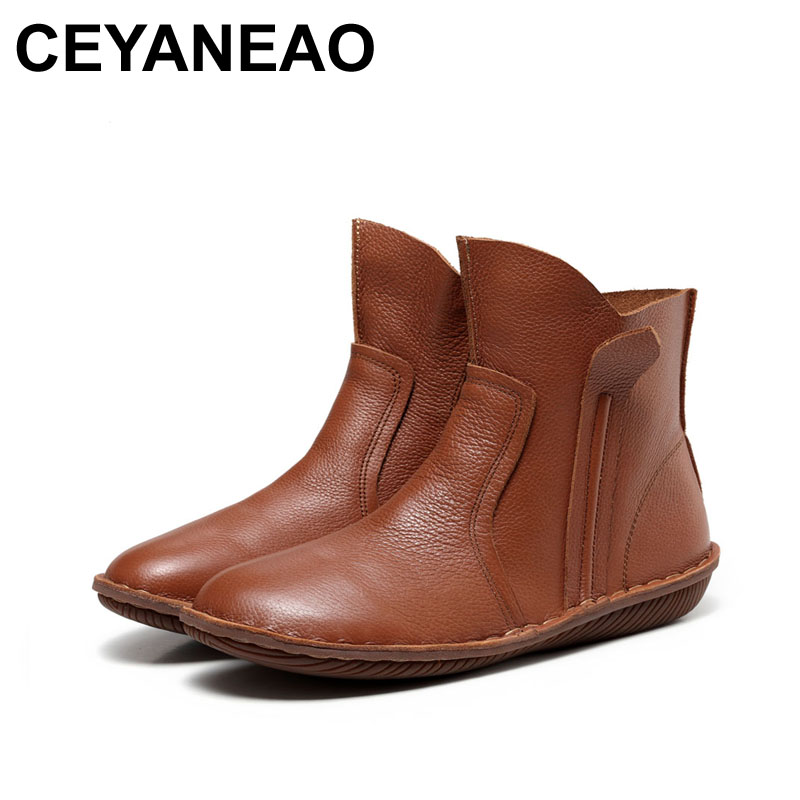 CEYANEAO 2018 New Women Genuine Leather Fashion Boots Fashion Shoes Zip Design Size 35-42 Autumn Winter Style 5062