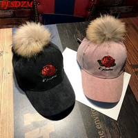 PJ.SDZM 2018 New Autumn and Winter Women Rose Flower Embroidery Baseball Cap Students Fashion Caps