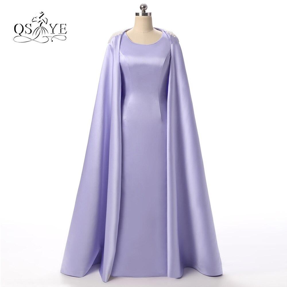 2017 Photo réelle lilas Satin Vintage longue arabie saoudite robes de soirée formelles avec perle perlée détachable Cape longue robe de soirée