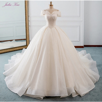 Julia Kui Elegant Sequined Fabric Ball Gown Wedding Dress 2019 Off The Shoulder Lace UP Court Train Bride Dress New Arrival