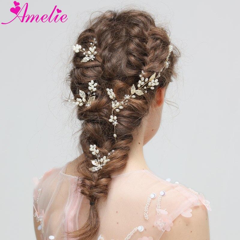 Wedding Dress Accessories Dainty Tiny Leaf Charm headband Pearl Hair Vine with Hair Pin Set Bridal Hair Accessories
