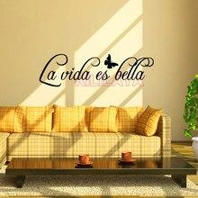Vinyl Wall Stickers Spanish Quotes La Vida Es Bella Removable Art Wall Decals Home Decor for Kids Living Room Hosue Decoration