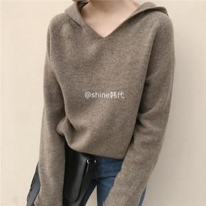 Image 1 - カシミヤニットジャンパー女性セーターフード付き 2 色韓国風ホット販売ファッションプルオーバー女性ウールニット服トップス