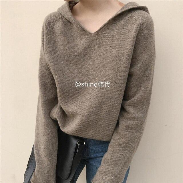 Cachemire Lavorato A Maglia Pullover Donna Maglione Con Cappuccio 2 Colori di Stile Coreano Caldo di Vendita di Modo Pullover Femminile di Lana Maglieria Vestiti Magliette e camicette