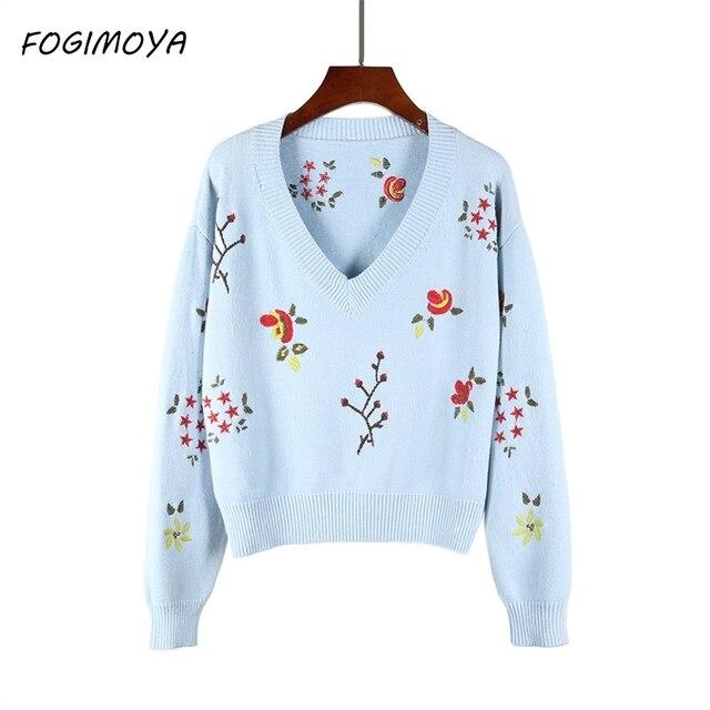 FOGIMOYA свитер 2018 осень зима новый ретро с длинными рукавами Свободный дикий v-образным вырезом Вязание Вышивка Набор дна свитер женщин