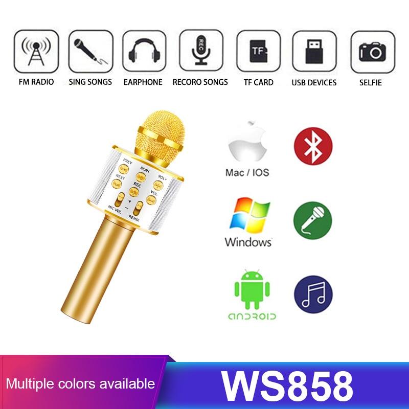 Bluetooth Wireless Microphone Karaoke Mic Music Player Speaker Handheld Microphone  Singing Recorder KTV Microphone