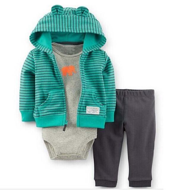 Frete grátis crianças Esporte terno de suor treino define coat + romper + calças roupas de bebê menino infantil roupas de Outono Primavera