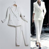 2017 New suit collar Sexy Business Pant Suits Set Blazers Formal Women OL Elegant Skinny Cut Out Black Backless Runway Suits