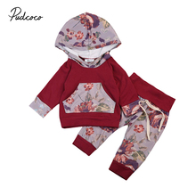 Wine Red Newborn Baby Clothes 2017 Autumn Floral Long Sleeve Hooded Tops+Flower Pant Legging 2PCS Outfit Kids Clothing Set 0-24M
