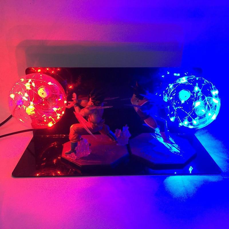 New Arrival Dragon Ball Z Vegeta Son Goku Super Saiyan Fighting Together Led Lighting Anime Dragon Ball Z Vegeta Goku Model Toy jlb 33901 33906 dragon ball z son goku vegeta master roshi minifigures toys building blocks sets model bricks figures legoelieds