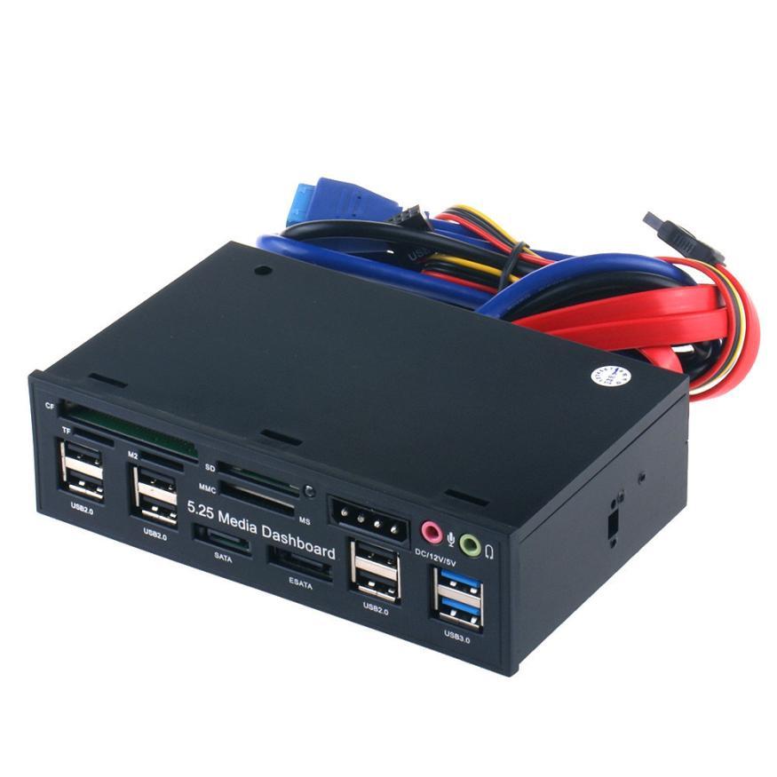Buena aplicación todo en uno USB 3.0 5.25 LCD medios temp Dashboard panel frontal lector de tarjetas SATA eSATA caja jan15
