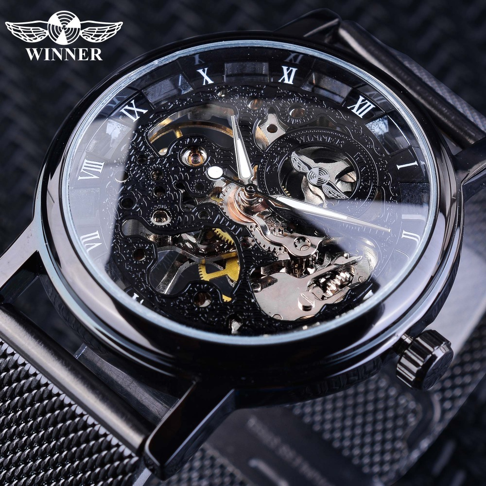 Gewinner Edelstahl Mesh Band Transparent Klassische Dünne Fall Hohl Skelett Herren Männlichen Mechanische Armbanduhr Top Marke Luxus