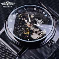 Winner Stainless Steel Mesh Band Transparent Classic Thin Case Hollow Skeleton Mens Male Mechanical Wrist Watch Top Brand Luxury
