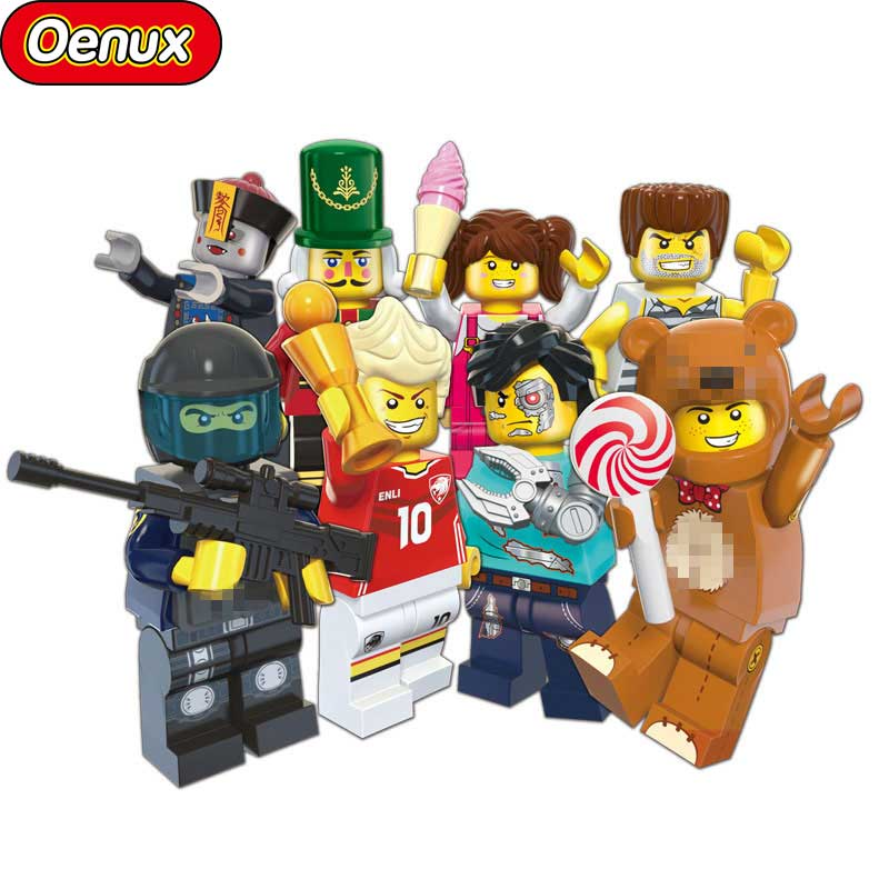 Oenux Mini Policeman/Girl/Zombie/Prisoner/Football Player Figures Building Blocks Set DIY Bricks Toy For Kids Birthday Gift mtele 6729 toy building blocks minifigures gift for kids policeman swat and helicopter building bricks kit assemble set
