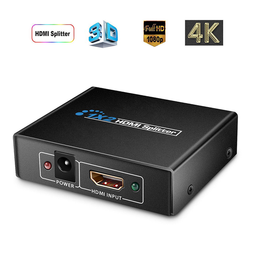 New 4K HDMI-compatible Splitter 1 in 2 out 1080P 1x2 HDCP 3D Splitter Power Signal Amplifier For HDTV DVD PS3 Xbox US/EU