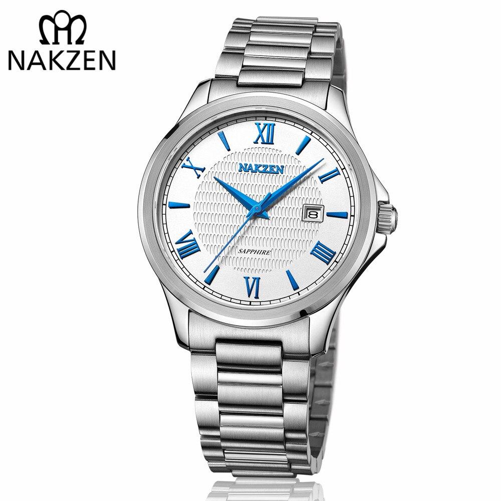 Nakzen homens negócios relógio de quartzo homem marca luxo aço inoxidável relógio de pulso masculino moda simples relógio relogio masculino