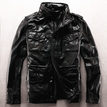 Army overcoat genuine leather clothing M65 outerwear cow leather jacket male plus size plus big size leather rider jacket