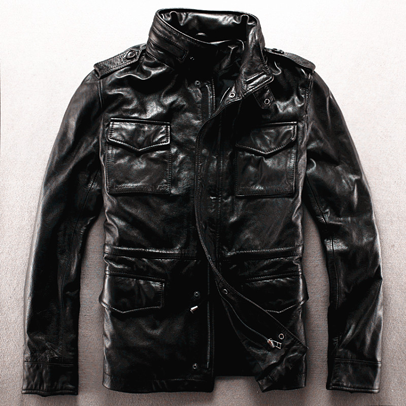 Read Description! Asian size Army genuine leather M65 outerwear cow leather jacket big size leather rider jacket
