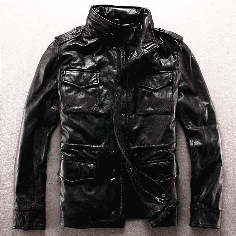 설명 읽기! 아시아 크기 육군 정품 가죽 M65 겉옷 암소 가죽 자켓 큰 크기의 가죽 라이더 자켓