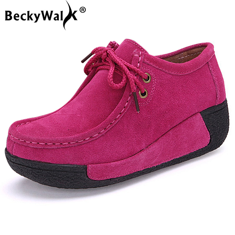 BeckyWalk Round Toe Platform Shoes Woman Genuine Leather Casual Women Shoes Fashion Lace-up Wedges Autumn Zapatos Mujer WSH2713