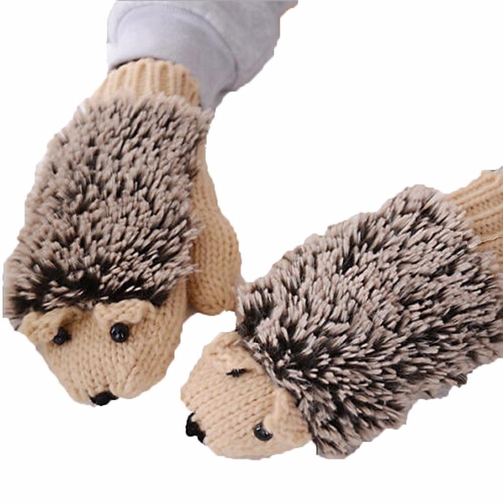 Women Winter Gloves Cute Hedgehog Knittes