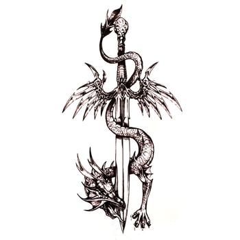 Dragon Sword Waterproof Temporary Tattoos Harajuku Tatoo Guitar sticker Tattoo Body Art Henna Tattoo sleeves duvar sticker