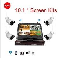 4CH 720P 960P 1080P 10 Inch Displayer Wireless CCTV System NVR IP Camera IR CUT Bullet
