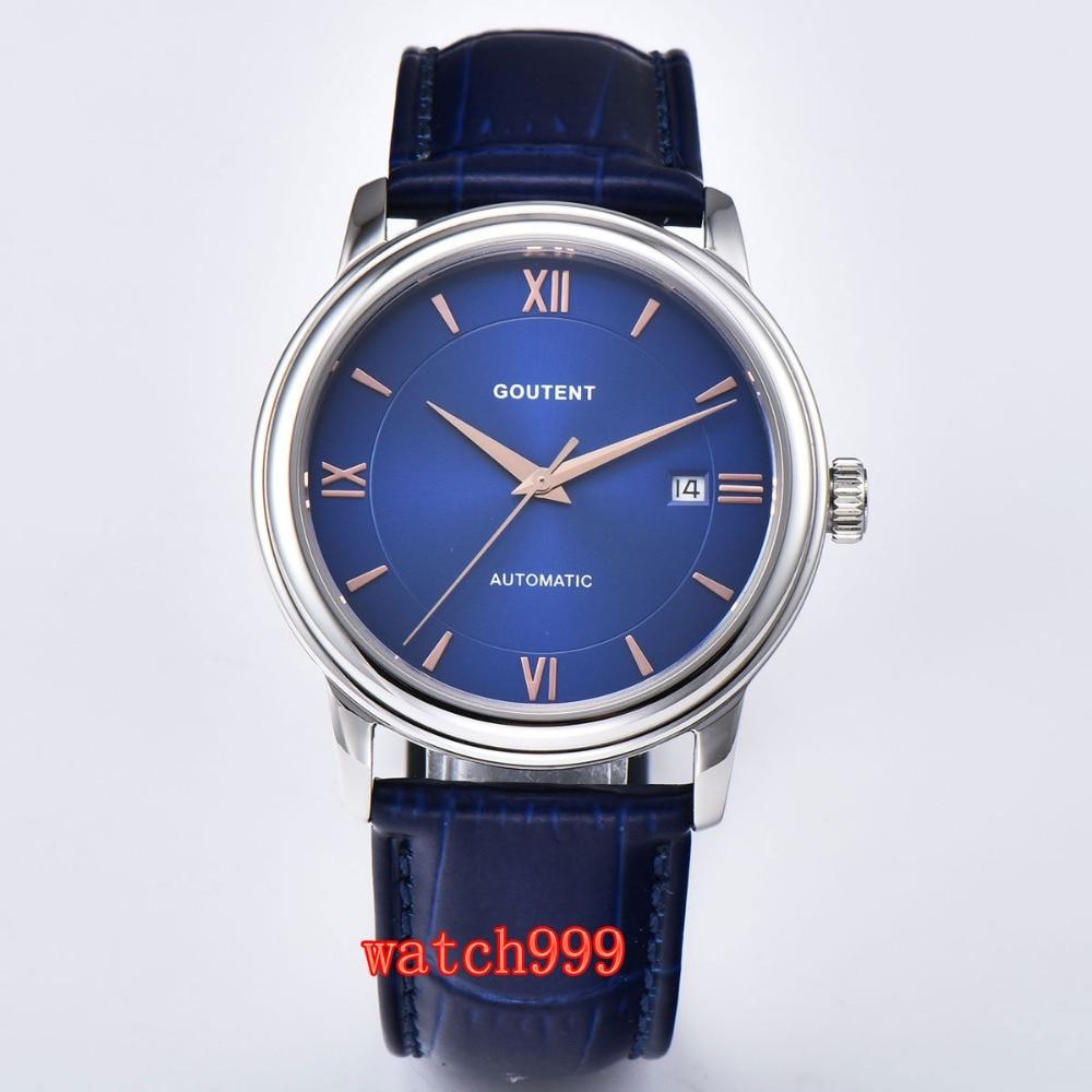 40mm Goutent mechanical watch men clock date Blue dial Sapphire crystal Luminous Miyota Automatic Mens Watch 40mm Goutent mechanical watch men clock date Blue dial Sapphire crystal Luminous Miyota Automatic Mens Watch