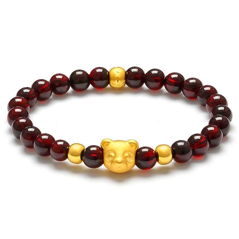 New Real 999 Yellow Gold 3D Lovely Bear Charm Garnet Beads Link Bracelet