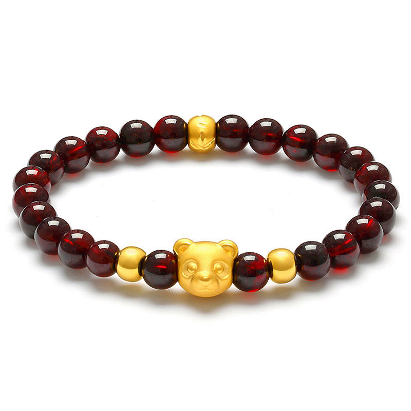 New Real 999 Yellow Gold 3D Lovely Bear Charm Garnet Beads Link Bracelet