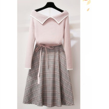 Hot Sale 2019 New Fashion Long Sleeve Plaid Two Piece Suit Turn-Down Collar Sweater And A-Line Skirt Women Sweet Outfits