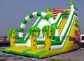 Hermosa PVC tobogán inflable comercial/inflable patio de tierra al aire libre tobogán para niños y adultos