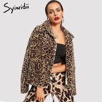 Syiwidii Faux Fur Jacket Winter Women Teddy Jacket Leopard Coat Long Sleeve Shaggy Jacket with Pockets Fur Coat Women Plus Size