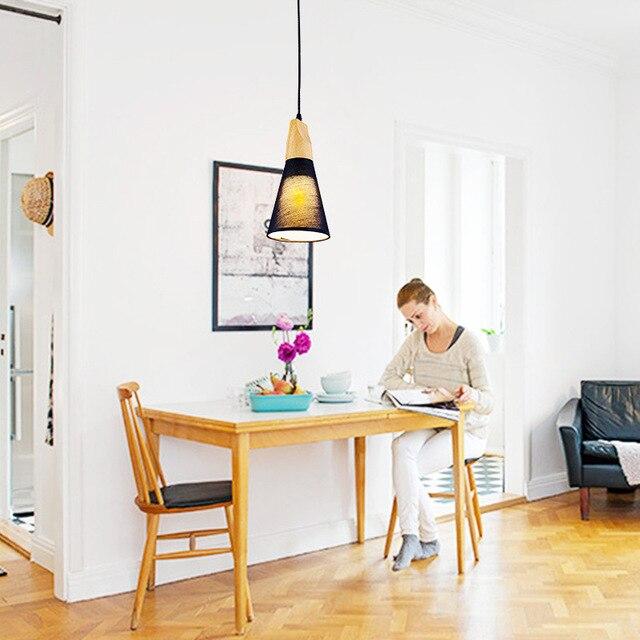 Amerikanischer Massivholz Lampe Nordic Pendelleuchte Stoff Tuch