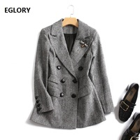 2018 Fashion Autumn Women Blazers and Jackets Work Office Lady Suit Double Breasted Coat Outwear Business Female Blazer Coat