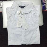 2016 novo estilo Elegante do laço de algodão sólido Branco do bebê meninas crianças Blusa camisas brancas para presente das crianças