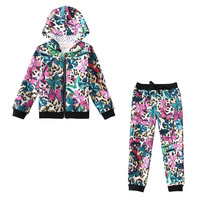2017 New Kids Girls spring autumn clothing Floral Cotton children suit two piece female Hooded Baby coat