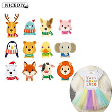 Nicediy Cute Cat Animals Patches Iron-on Transfers For T-Shirt Heart Applique Children DIY Clothes Stickers Lovely Penguin Badge